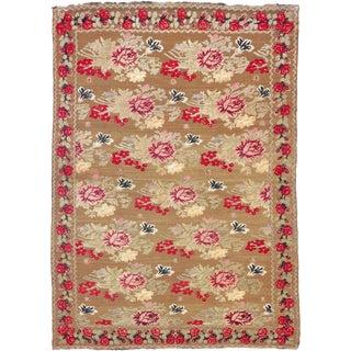 Ukranian Rug with Floral Design- 4′10″ × 6′11″ For Sale