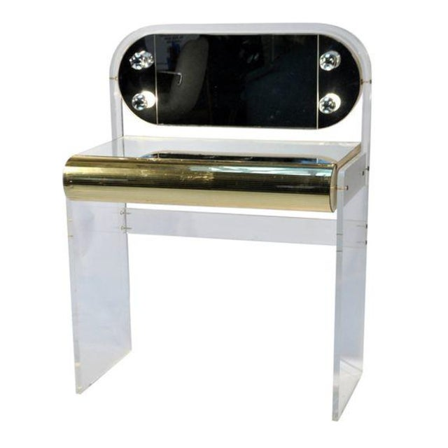 Hollywood Regency Lucite Mirrored Vanity Table - Image 1 of 3