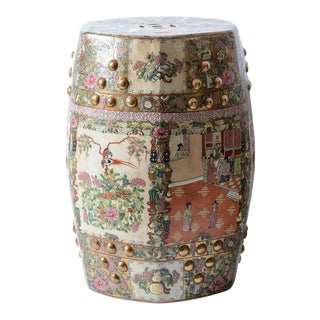 Hollywood Regency Rose Medallion Garden Stool 20thC. For Sale