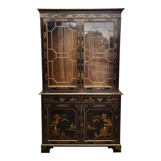 19th Century Chippendale Chinoiserie Bookcase Cabinet For Sale