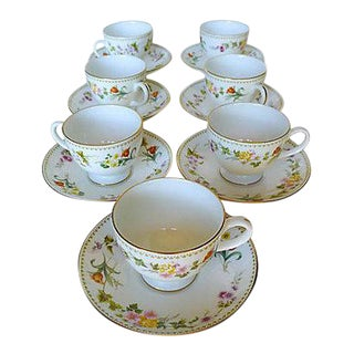 "Wedgwood ""Mirabelle"" Teacups & Saucers - Set of 7"