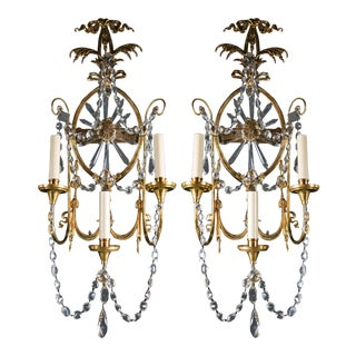 Large 1920s Caldwell Three-Light Sconces With Sunburst Shaped Crystal - a Pair For Sale