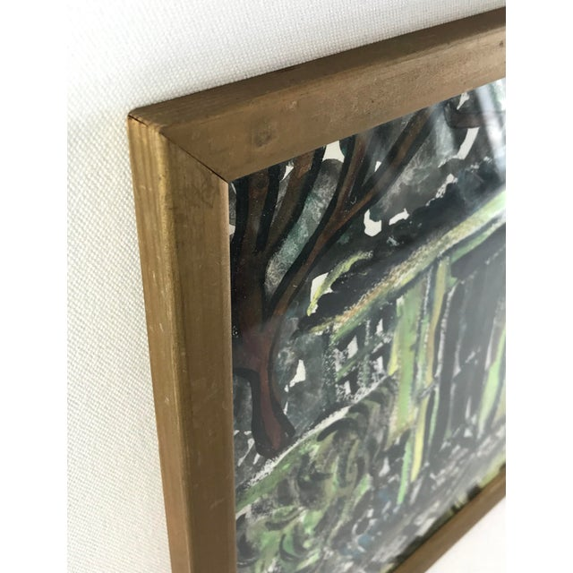 """1996 Small English Abstract """"Green House"""" Framed Painting For Sale - Image 4 of 11"""