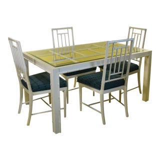 Hollywood Regency Faux Bamboo Dining Set - 5 Pieces For Sale