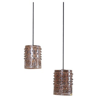 Pair of Unique Handmade Jette Helleroe Danish Modern Pendant Lamps, 1960s For Sale