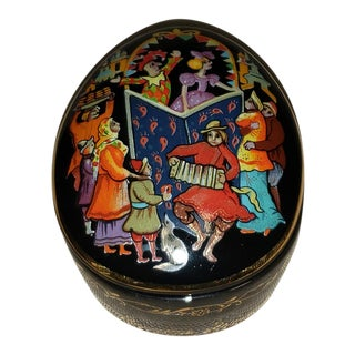 """Vintage 1980s the Franklin Mint Russian Ballet Lidded Music Box """"Petrouchka"""" For Sale"""