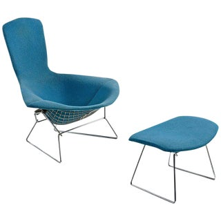 Bird Chair and Ottoman by Harry Bertoia for Knoll, Vintage Original Blue Fabric For Sale