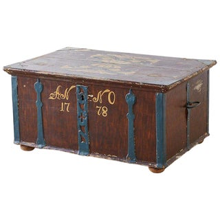 18th Century Swiss Polychrome Decorated Blanket Chest Trunk For Sale