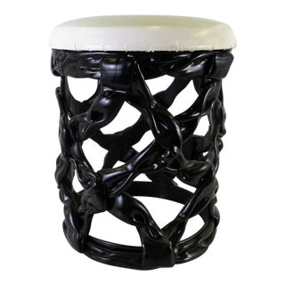 1970s Vintage Black Resin Ribbon Stool Seat For Sale
