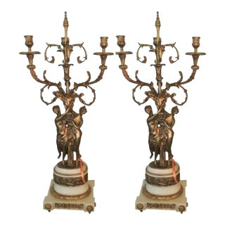 Gilt Bronze Double Figure Candelabras - A Pair
