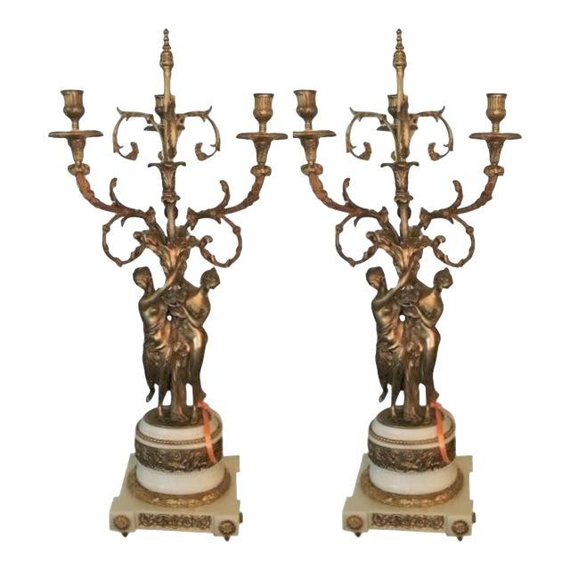 Gilt Bronze Double Figure Candelabras - A Pair For Sale