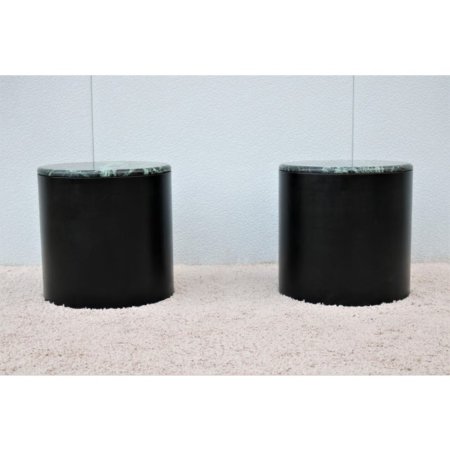 Mid-Century Modern Mid Century Modern Paul Mayen Style Green Marble Top Drum Side Tables - a Pair For Sale - Image 3 of 13