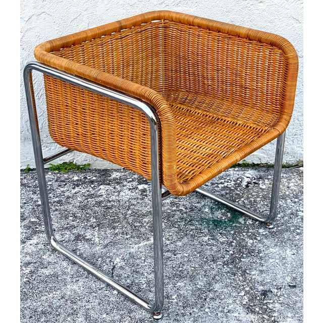 1970s Chrome and Rattan Cube Club Chairs - a Pair For Sale - Image 4 of 6