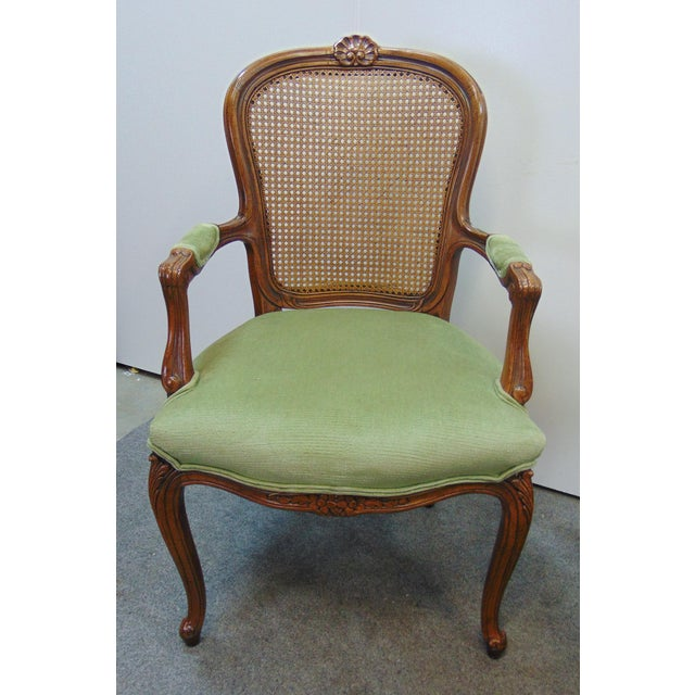 French Drexel Louis XV Style Carved Fruitwood Caned Arm Chairs - a Pair For Sale - Image 3 of 8
