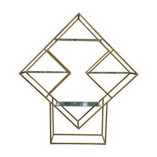 Diamond MCM Milo Baughman Style Brass Etagere