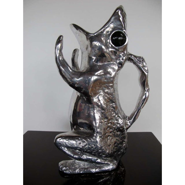 1970s Figurative Arthur Court Cast Aluminum Charming Frog Pitcher For Sale In Tampa - Image 6 of 6