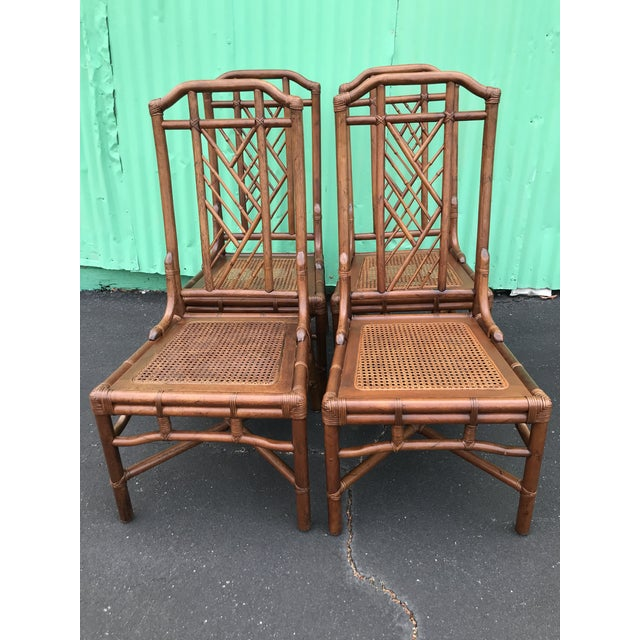 Vintage Brown Jordan Rattan Brighton Pavilion Style Table Four Chairs For Sale - Image 10 of 13