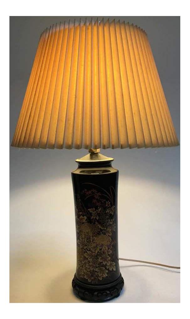 Asian Black Ceramic Table Lamp