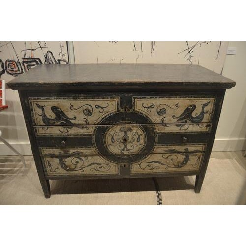Beautiful 19th century Spanish chest of drawers. Has been newly painted in an antique distressed manner with exquisite...