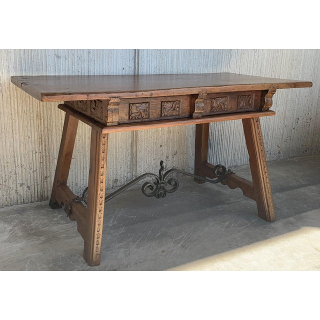 Baroque 18th Century Spanish Baroque Walnut Trestle Table, Restored For Sale - Image 3 of 13