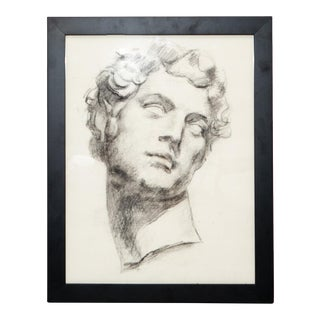 Framed Charcoal Rendering of Classical Bust For Sale