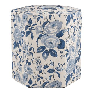 Hexagonal Ottoman in Delft Chintz For Sale