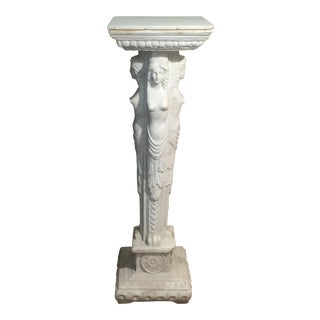 European Maiden Marble Pedestal For Sale