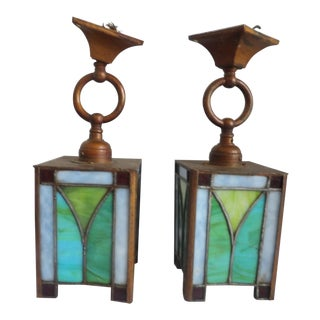Mid 20th Century Mission Oak Authentic Stained Glass Sconces, - a Pair For Sale