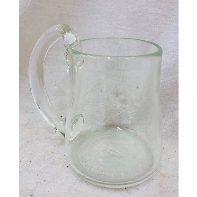 Transparent Handblown Glass Pitcher For Sale - Image 8 of 11