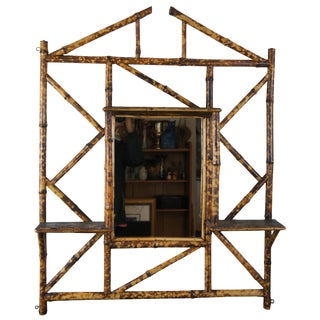 Antique Chinese Chippendale Bamboo & Leather Mirror Wall Shelf For Sale