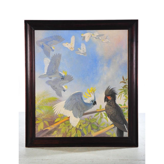 """Flock of white parrots. Exquisite 1940s Oil Painting on Canvas by J. Moessel. Size 35"""" x 40"""" A beautiful piece that will..."""