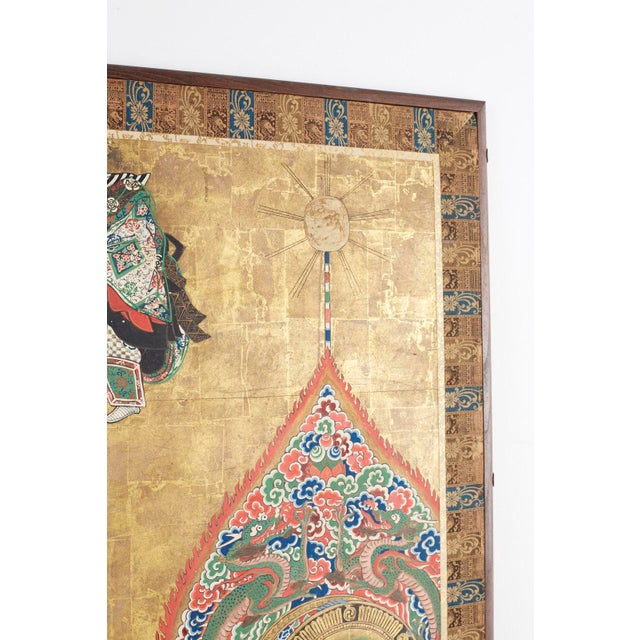 19th Century Japanese Edo Bugaku Imperial Court Dance Two-Panel Screen For Sale - Image 5 of 13