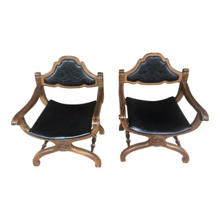 Mid Century Savonarola Dante Style Chairs- a Pair For Sale