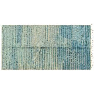 "Vintage Moroccan Aqua Berber Rug -- 5'2"" x 10'11"" For Sale"
