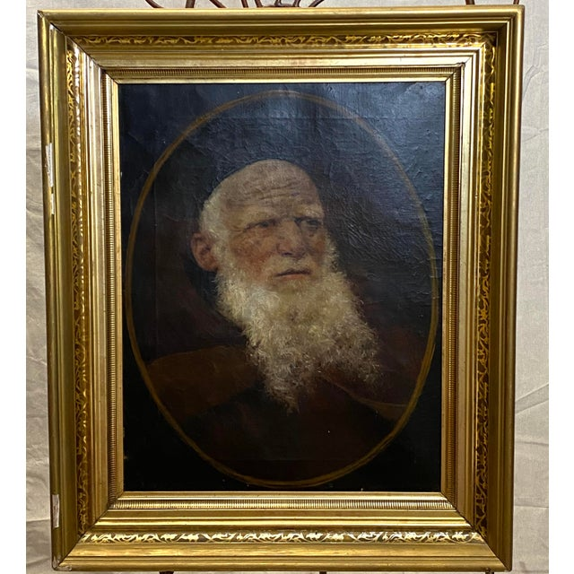 Antique 19th C. Oil on Canvas Portrait of a Jewish Man Hebrew Beautiful Frame For Sale - Image 12 of 12