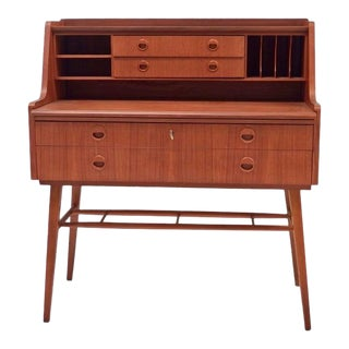 Vintage Swedish Desk With Drawers and Storage Space For Sale