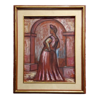 "Raúl Anguiano ""Portrait of a Woman"" Oil Painting For Sale"