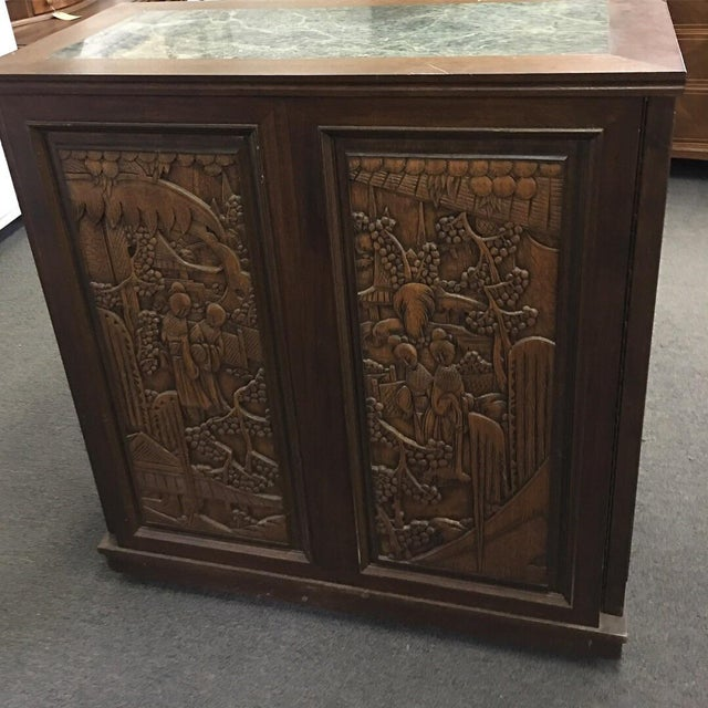 Asian Teak Marble Top Fold Out Bar For Sale - Image 4 of 11