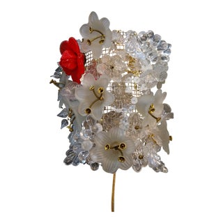 1960s Murano Glass Flower Collage Sconce in the Style of Barovier and Toscanini For Sale
