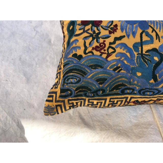 Chinoiserie Gold Silk Crane Boudoir Pillow - Image 6 of 9