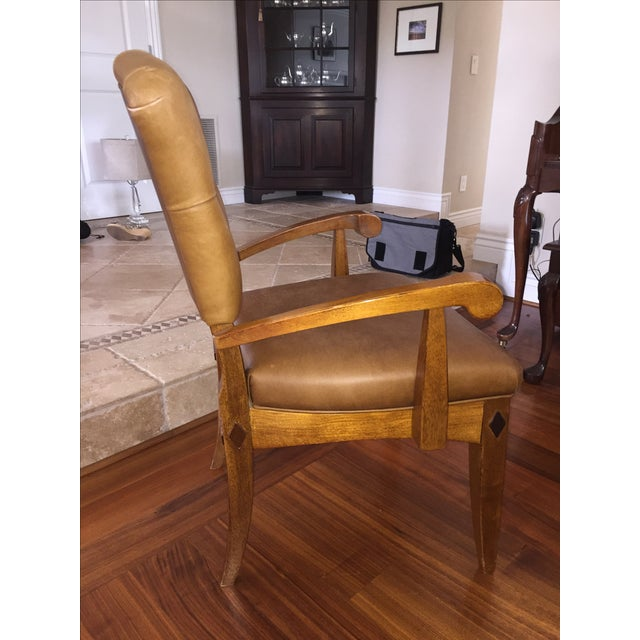 Brown Leather Parlor Chair - Image 4 of 5