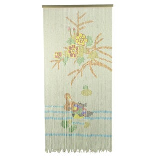 1940s Beaded Curtain Or Tapestry Depicting Flora & Fauna For Sale