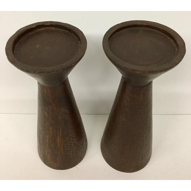 1950s Boho Chic Solid Wood Candle Holders - a Pair For Sale - Image 4 of 13