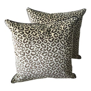 Lee Jofa Down Feather Leopard Velvet Pillows - Set of 2