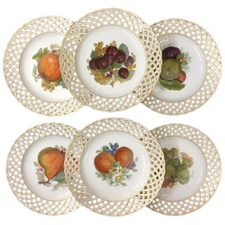 Set of Six Kpm Fruit Reticulated Plates For Sale