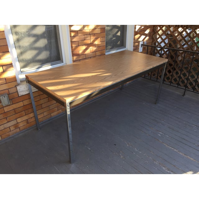 Steelcase Chrome and Oak Writing Desk - Image 2 of 11