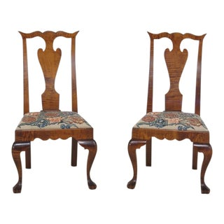Pair of Benchmade Tiger Maple Side Chairs For Sale