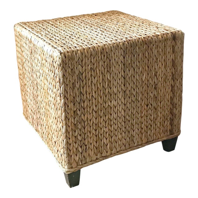 Wicker Rattan Cube Footstool, Table or Seat - Image 1 of 5
