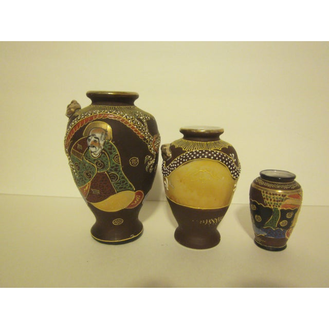 Vintage Japanese Satsuma Vases Set Of Three Chairish