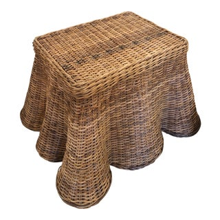Vintage Palm Beach Tropical Trompe l'Oeil Wicker Draped Coffee Table For Sale